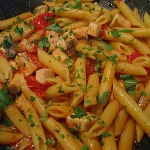 Penne pasta with perch